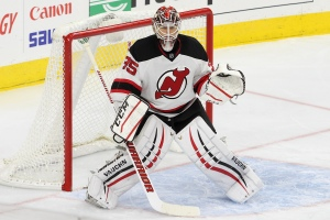Goalie Cory Schneider (#35) of the New Jersey Devils gets into position