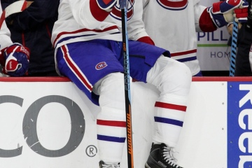 Left Wing Max Pacioretty (#67) of the Montreal Canadiens sits on the boards