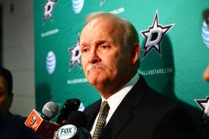 Dallas Stars Coach Lindy Ruff talks with the media. (Brandon Titus/Inside Hockey)