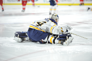 14 Oct 2014 during the NHL game between the Buffalo Sabres and the Carolina Hurricanes at the PNC Arena in Raleigh, NC. Buffalo defeated Carolina in a shootout 4 - 3. (Inside Hockey/Greg Thompson)
