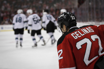 New Jersey Devils' Eric Gelinas recovers after a San Jose goal in a game on October 18, 2014 at the Prudential Center in Newark, NJ.