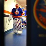 Jaroslav Halak walks to the ice. (Brandon Titus/ Inside Hockey)