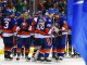 NY Islanders celebrate their shootout win over the NJ Devils at the Barclay's Center.(Brandon Titus/Inside Hockey)
