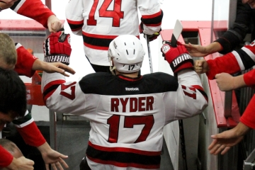 Michael Ryder (#17) of the New Jersey Devils heads out to the ice for the warm-ups