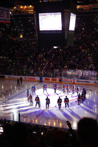 NY Islanders take the ice for the home opener against the Carolina Hurricanes. (Brandon Titus/Inside Hockey)