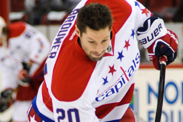 Troy Brouwer warms up in Raleigh. The Capitals beat the Hurrican