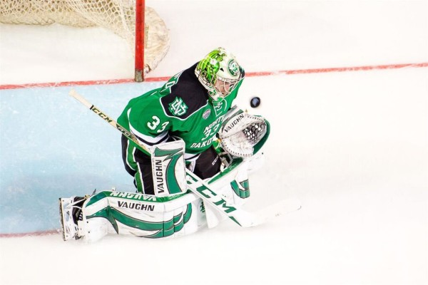 UND goalie Cam Johnson (Michael Mcsweeney UND Athletics)