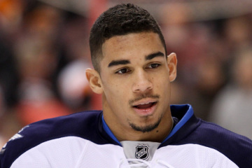 Left Winger Evander Kane (#9) of the Winnipeg Jets during the warm-ups prior to the start of the game between the Winnipeg Jets and the Philadelphia Flyers at the Wells Fargo Center. The Philadelphia Flyers defeated the visiting Winnipeg Jets by a score of 2-1.