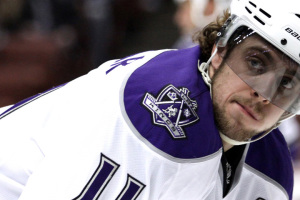 Los Angeles Kings forward Anze Kopitar prepares for a faceoff du