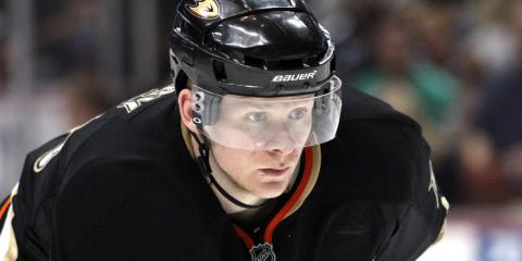 Anaheim Ducks forward Corey Perry prepares for a first period fa