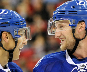 Steven Stamkos (91) and Valtteri Filppula (51) enjoying themselv