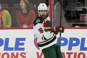 Left Wing Jason Zucker (#16) of the Minnesota Wild celebrates his eventual game winning goal with 46 seconds left in regulation