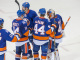 New York Islanders Calvin deHaan, Thomas Hickey, Matt Martin and Brian Strait congratulate New York Islanders goalie Jaroslav Halak Saturday Night at the Nassau Veteran Memorial Coliseum on his victory over the New Jersey Devils. Final score Islanders 3 Devils 1