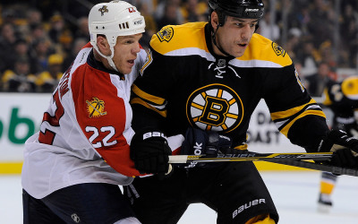 Florida Panthers right wing Shawn Thornton #22 and Boston Bruins left wing Milan Lucic #17 battle for position