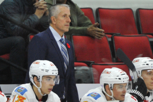 10 Nov 2014 Clagary Flames Head Coach Bob Hartley during the first period of the game between the Calgary Flames and the Carolina Hurricanes at the PNC Arena in Raleigh, NC. Carolina defeated Calgary 4-1.