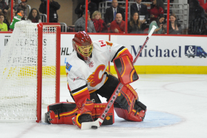 10 Nov 2014 Calgary Flames Goalie Jonas Hiller (1) [6070] makes a save during the first period of the game between the Calgary Flames and the Carolina Hurricanes at the PNC Arena in Raleigh, NC. Carolina defeated Calgary 4-1.