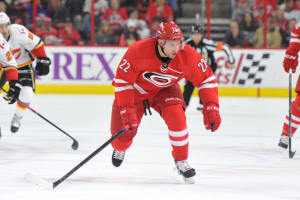 10 Nov 2014 Carolina Hurricanes Right Wing Zach Boychuk (22) [6494] skates after the puck during the first period of the game between the Calgary Flames and the Carolina Hurricanes at the PNC Arena in Raleigh, NC. Carolina defeated Calgary 4-1.