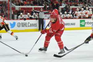 10 Nov 2014 Carolina Hurricanes Left Wing Jeff Skinner (53) [7896] skates with the puck during the first period of the game between the Calgary Flames and the Carolina Hurricanes at the PNC Arena in Raleigh, NC. Carolina defeated Calgary 4-1.