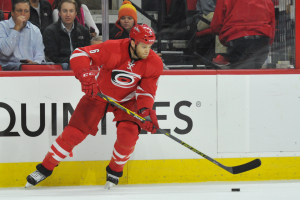 10 Nov 2014 Carolina Hurricanes Defenceman Tim Gleason (6) [2485] controls the puck during the first period of the game between the Calgary Flames and the Carolina Hurricanes at the PNC Arena in Raleigh, NC. Carolina defeated Calgary 4-1.