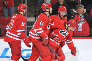10 Nov 2014 Carolina Hurricanes Right Wing Zach Boychuk (22) [6494] celebrates a goal with teammates during the first period of the game between the Calgary Flames and the Carolina Hurricanes at the PNC Arena in Raleigh, NC. Carolina defeated Calgary 4-1.