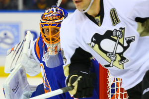 Jaroslav Halak watches play in the corner during the game against the Pittsburgh Penguins. (Brandon Titus/Inside Hockey)