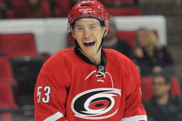 10 Nov 2014 Carolina Hurricanes Left Wing Jeff Skinner (53) [7896] is all smiles after scoring is 100th NHL goal in the game between the Calgary Flames and the Carolina Hurricanes at the PNC Arena in Raleigh, NC. Carolina defeated Calgary 4-1.