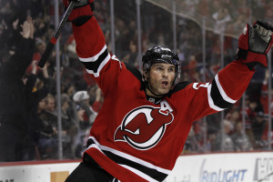 Devils Winger Jaromir Jagr celebrates a goal in the 2nd period i