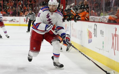 Left Wing Rick Nash (#61) of the New York Rangers with the puck