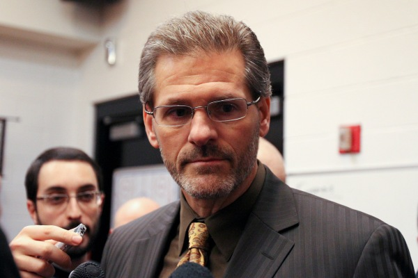 General Manager Ron Hextall gives a post-game interview