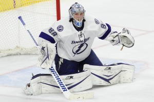 Goalie Andrei Vasilevskiy (#88) of the Tampa Bay Lightning makes his NHL debut