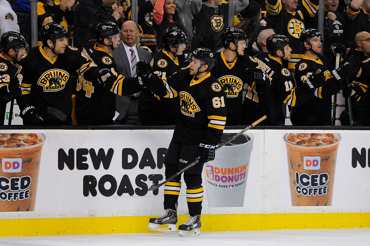Dec 13, 2014; Boston Bruins left wing Craig Cunningham (61) celebrates his first NHL goal during an NHL game in the TD Garden in Boston. (Photo: Brian Fluharty)