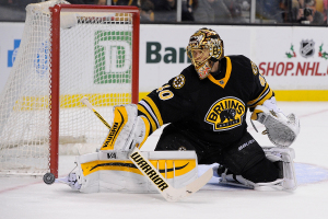 Dec 13, 2014; Boston Bruins goalie Tuukka Rask (40) blocks a shot during an NHL game in the TD Garden in Boston. (Photo: Brian Fluharty)