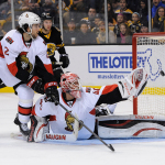 Dec 13, 2014; Shot from Boston Bruins defenseman Torey Krug (47) goes wide of Ottawa Senators goalie Robin Lehner (40) during an NHL game in the TD Garden in Boston. (Photo: Brian Fluharty)