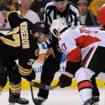 Dec 13, 2014; Face-off between Ottawa Senators center David Legwand (17) and Boston Bruins center Patrice Bergeron (37) during an NHL game in the TD Garden in Boston. (Photo: Brian Fluharty)