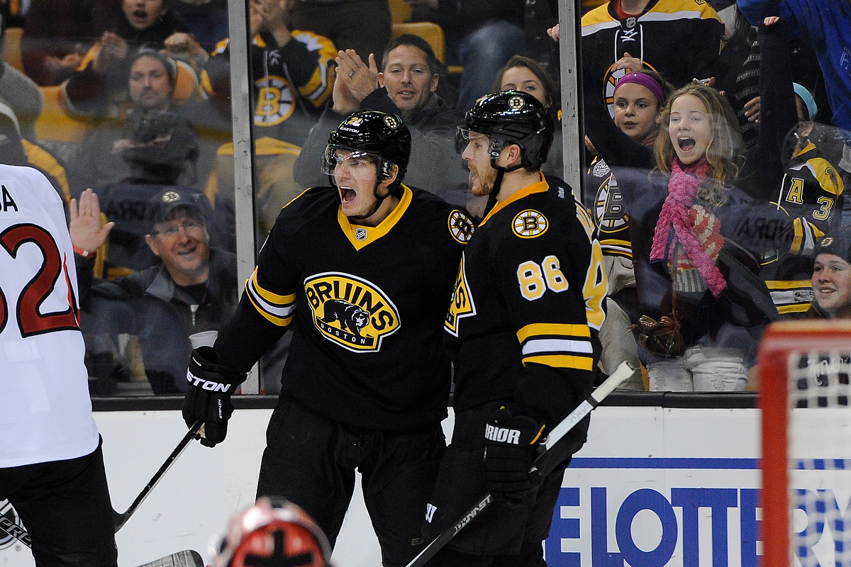 Dec 13, 2014; Boston Bruins left wing Loui Eriksson (21) celebrates his goal during an NHL game in the TD Garden in Boston. (Photo: Brian Fluharty)