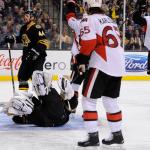 Dec 13, 2014; Ottawa Senators center David Legwand (17) scores on Boston Bruins goalie Tuukka Rask (40) during an NHL game in the TD Garden in Boston. (Photo: Brian Fluharty)