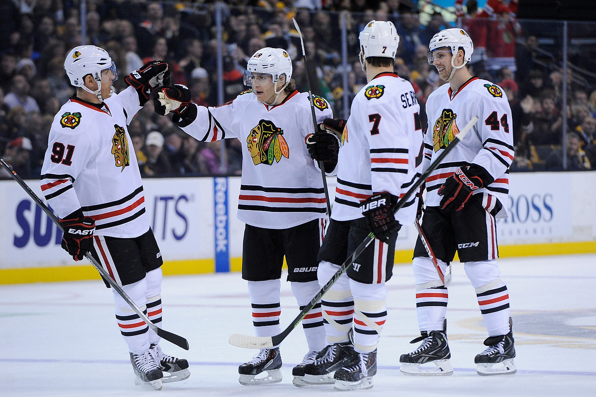 The Chicago Blackhawks celebrate their second period goal.
