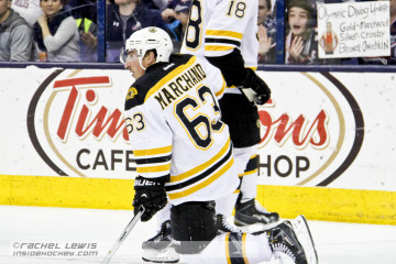 Brad Marchand (BOS - 63) is chirped by a Blue Jackets fan.