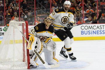 Goalie Tuukka Rask (#40) and Defenseman Zdeno Chara (#33) of the Boston Bruins keep their eyes on the puck