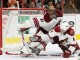 Goalie Mike Smith (#41) of the Arizona Coyotes gets help from teammate Defenseman Zbynek Michalek (#4)