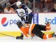 Left Wing Evander Kane (#9) of the Winnipeg Jets and Right Wing Wayne Simmonds (#17) of the Philadelphia Flyers both get called for penalties