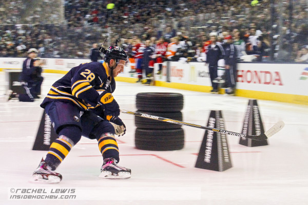 Buffalo Sabres' Zemgus Girgensons participates in the Bridgestone NHL Fastest Skater competition.