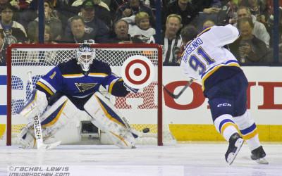 Vladimir Tarasenko of the St. Louis Blues shoots on teammate Brian Elliot during the Honda NHL Breakaway Challenge.