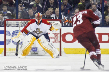 Oliver Ekman-Larsson of the Arizona Coyotes shoots on Roberto Luongo of the Florida Panthers in the Discover NHL Shootout.