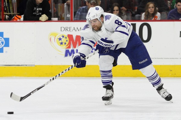 Right Wing Phil Kessel (#81) of the Toronto Maple Leafs passes the puck