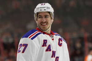 Defenseman Ryan McDonagh (#27) of the New York Rangers smiling