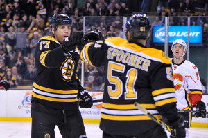 Goal by Boston Bruins left wing Milan Lucic celebrates his second period during an NHL game at the TD Garden. The Flames beat the Bruins 4-3 in a shootout. (Photo: Brian Fluharty)