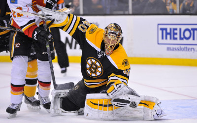 Boston Bruins goalie Tuukka Rask makes a save during an NHL game at the TD Garden. The Flames beat the Bruins 4-3 in a shootout. (Photo: Brian Fluharty)