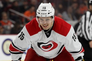 Center Andrej Nestrasil (#15) of the Carolina Hurricanes lines up for a face-off