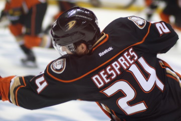 Trade deadline acquisition defenseman Simon Despres (#24)